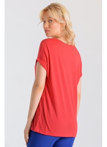 Jument Lycrasız Süprem Kayık Yaka Kısa Duble Kol Bluz Kırmızı